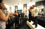 Jeff Abromson and Elizabeth Shaffer of Gen Art greet guests